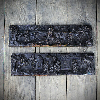 Two 18th Oak Century Drawer Fronts Carved With Biblical Scenes (£175 Ex VAT)