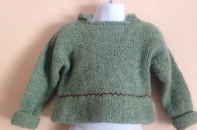 Boys Girls VTG 50s 60s Hand Knitted Green Pull On Sweater Sweatshirt - Size 6/7
