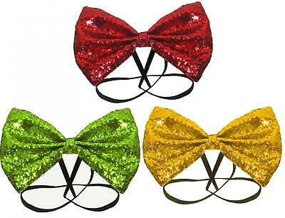 Christmas All Glitter Bow Tie Elasticated Mens Boys Formal Party Xmas Dickie
