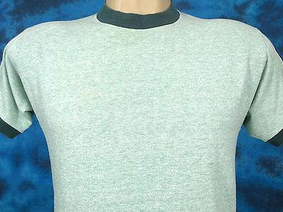 vintage 70s BLANK SEARS HEATHER RINGER T-Shirt SMALL beach surf soft thin 80s