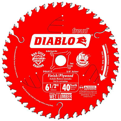 "6-1/2"" x 40 Tooth Diablo Finishing Circular Saw Blade Freud D0641X New"