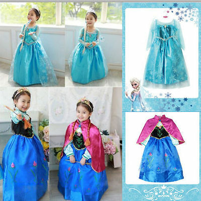 Grils Frozen New Princess Queen Elsa Anna Cosplay Costume Party Fancy Dress 2-8Y