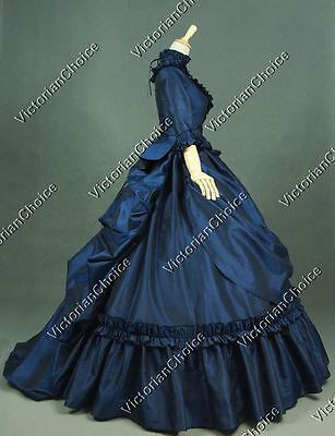 Gothic Victorian Dark Witch Bustle Belle Gown Reenactment Halloween Costume 330