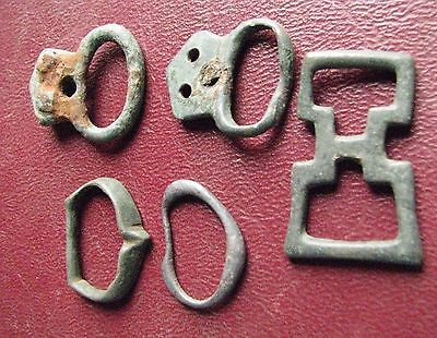 Authentic Ancient Artifact   Lot of 5 - Medieval Bronze belt buckles   13352
