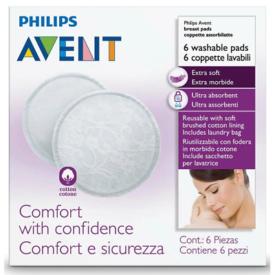 Avent - Washable Breast Pads 6 PACK Reusable Sealed Breastfeeding Hygienic