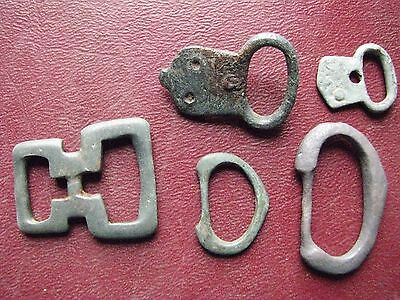 Authentic Ancient Artifact > Lot of 5 - Medieval Bronze belt buckles   13345