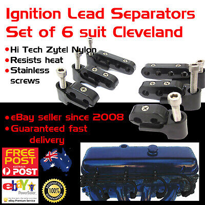 New Cleveland Black Ignition Lead Separators Brackets Mounts Stainless Screws