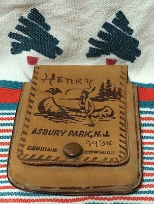 "VINTAGE 1938 ASBURY PARK NJ/NEW JERSEY SOUVENIR TOOLED COWHIDE WALLET ""Henry"""