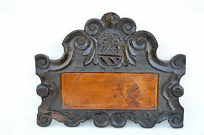 French Antique Gothic Hand Carved Walnut Wooden Pediment - Blazon 17th.c • CAD $437.72