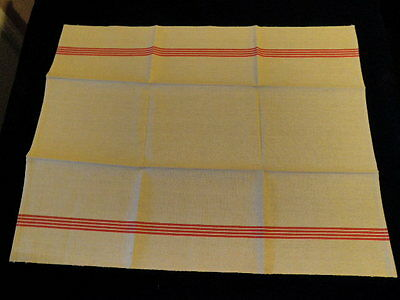 """Vintage Towel LINEN Fabric French Cloth Red Stripe 24x30"""" Unused Fleur Bleue A21"""