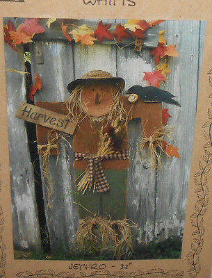 """New Country Whims JETHRO 32"""" WOOD SCARECROW Painting Pattern Fall Decor"""