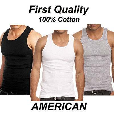 f7a3229b809652 Pack of 3 Mens 100% Cotton Tank Top A-Shirt Wife Beater Undershirt Ribbed