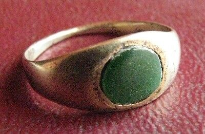 Ancient Artifact   Roman Bronze Glass Stone Finger Ring SZ 4 1/4 US 15mm 13423DR