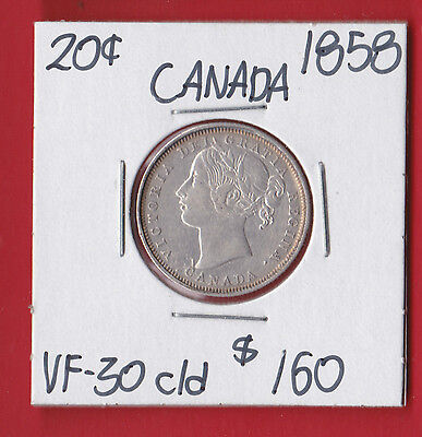 1858 Canada Silver 20 Cent Coin Cleaned 6121 VF - 30 - Only Made One Year!