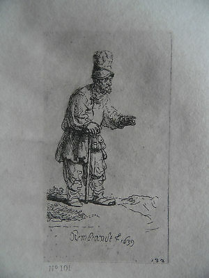 19th Century Rembrandt Engraving Portrait  Peasant with Tall Hat. Armand Durand.