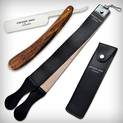 Wooden Barber Classic Straight Razors Cut Throat Wet Leather Strop SHAVE READY
