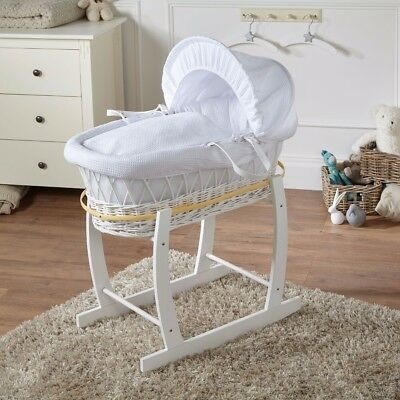 New White Waffle White Wicker Deluxe Padded Moses Basket & White Rocking Stand