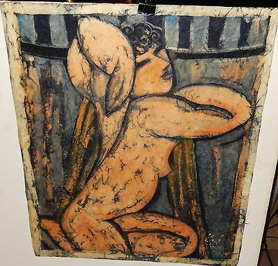 Nude Woman Original Wax Batik Painting Signed