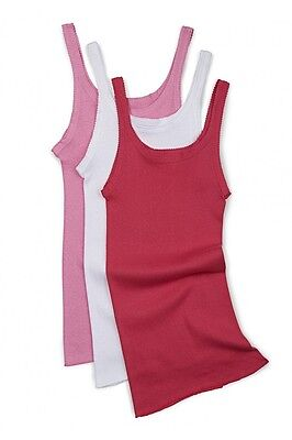 Girls Bonds Kids 3 Pack Teena Singlet Singlets Vest Top White Pink Size 3 - 14