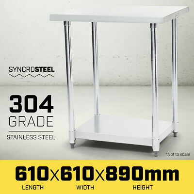 600 x 600 STAINLESS STEEL 304 COMMERCIAL KITCHEN BENCH FOOD CATERING PREP TABLE