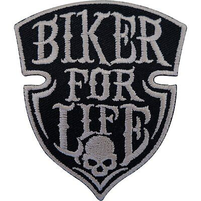 Biker For Life Patch Iron Sew On Embroidered Badge Motorbike Motorcycle Chopper