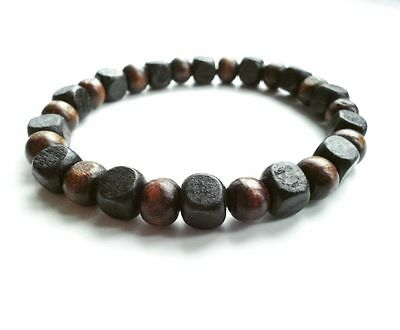 men's bracelet stretch beaded BLACK & BROWN wood beads wristband accessory men