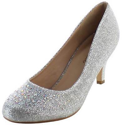 32d729c5fd09 FABULICIOUS Pumps Rhinestone Glitter Fabric Kitten Heel Shoes DORIS-06  Silver