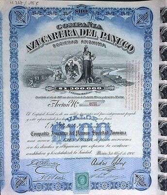 Mexico Mexican 1900 Azucarera Panuco Coupons $ 100 UNC Bond Loan Share