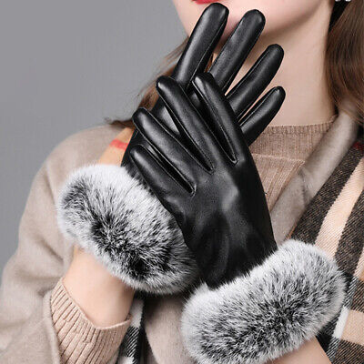 Ladies Quality Soft Black Leather Winter Driving Gloves With Velvet Lining Warm