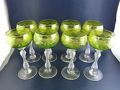 Set of 8 Saint Louis Crystal Beethoven Chartreuse Gold Encrusted Wine Hocks