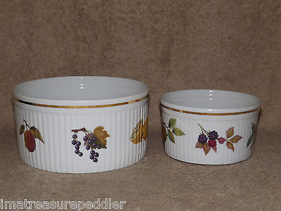 2 Royal Worcester EVESHAM Souffle Round Baker Casseroles Oven to Table