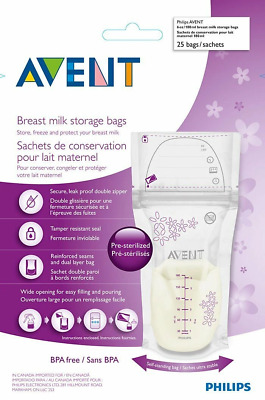 Avent - Breast Milk Storage Bags - 25 x Bags/Sachets 180ml - Pre-Sterilised
