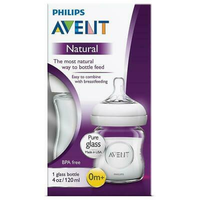 Avent - Natural Bottle GLASS Clear 120ML 0 Month Teat Baby Bottles Heavy Duty