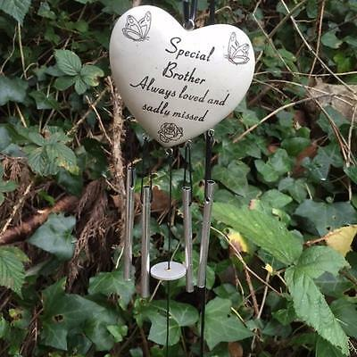 SPECIAL BROTHER Heart Wind Chime Grave Memorial Funeral Tribute Graveside Garden