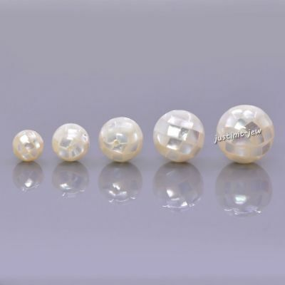 8-16mm Handmade Mother Of Pearl MOP White shell mosaic ball round loose beads