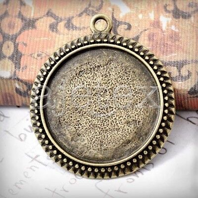 6 Round Pendant Cabochon Setting Antique Brass TS7388-4