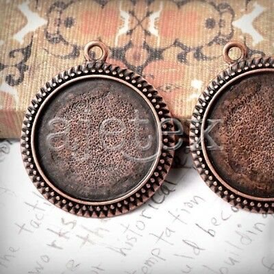 6pcs Pendants Cabochon Settings Antique Copper TS7388-3