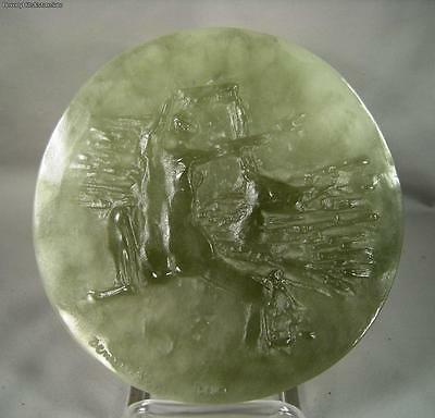 Daum Pate De Verre Art Glass Plaque Of Nude Artist Signed Jean Pierre Demarchi