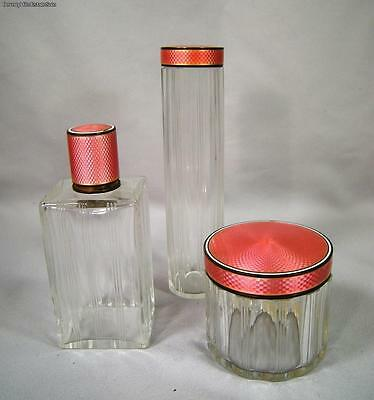 Group Of Three French Sterling Silver Crystal Vanity Jars Pink Guilloche Enamel