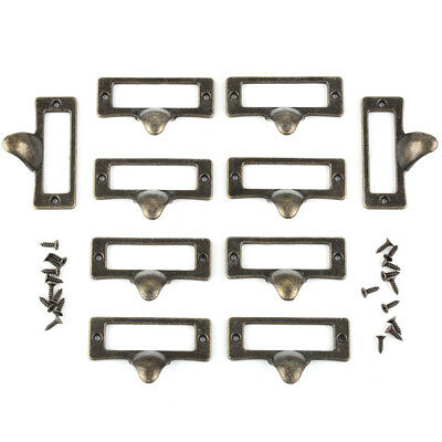 10pcs Antique Brass File Drawer Handle Pull Label Tag Name Card Holder 55mm*35mm