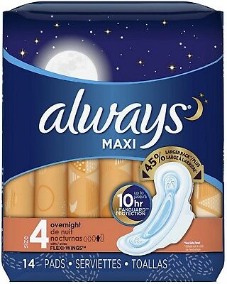 Always Maxi Overnight Pads with Wings, Size 4, Unscented 14 ea (Pack of 2)