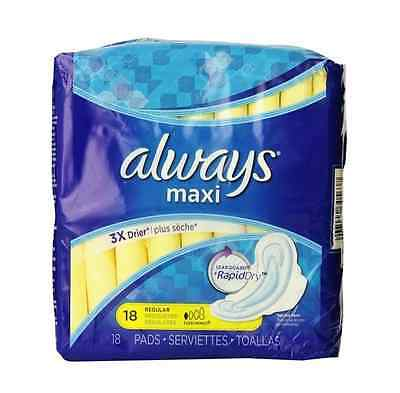 Always Maxi Pads Regular Flexi-Wings 18 Each (Pack of 6)
