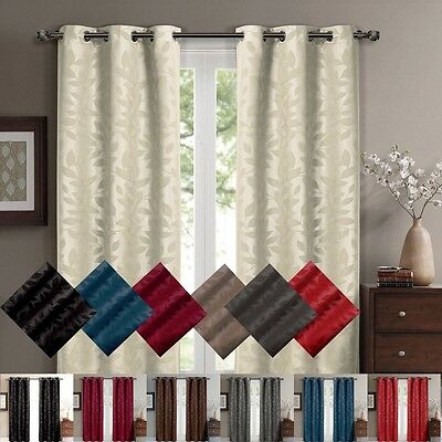 Virginia Grommet Blackout Weave Embossed Curtains 37 x 63 inches Pair Panels