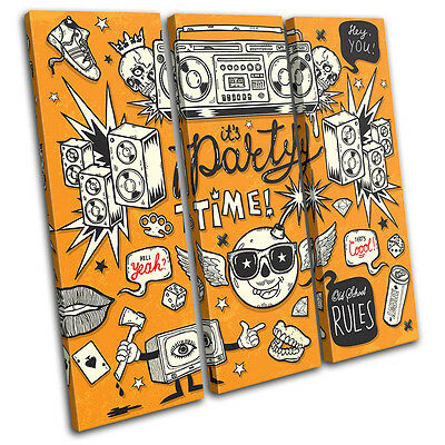"""It's Party Time"" Illustration TREBLE CANVAS WALL ART Picture Print VA"