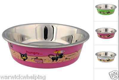 Trixie cat Ceramic Bowl 12cm 25274 plastic coated stainless steel pink green