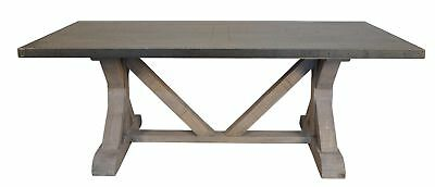 """84"""" Long Dining Table Solid Old Reclaimed Wood Hammered Zinc Top Vintage Design"""