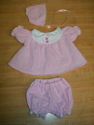 """GREEN FLOWERED DRESS+PANTY+CAP for 11-14/"""" CPK Cabbage Patch Kid BBB baby"""