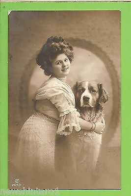 #g.  Early   German Postcard - Woman & Dog , About 1906