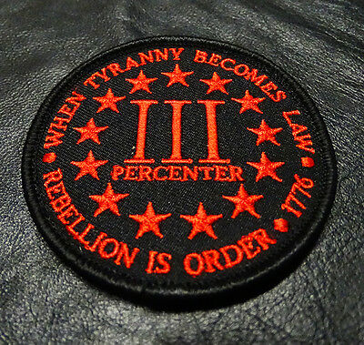 THREE 3%  PERCENTER REBELLION TYRANNY TACTICAL MORALE 3 inch RED HOOK PATCH