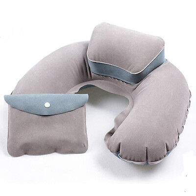 Inflatable Travel Pillow Air Cushion Neck Rest U-Shape Compact Plane Flight Gray